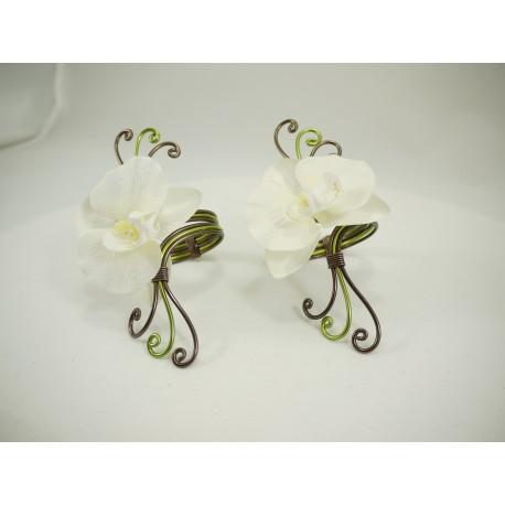 Lot de 2 ronds de serviettes triple avec orchidée