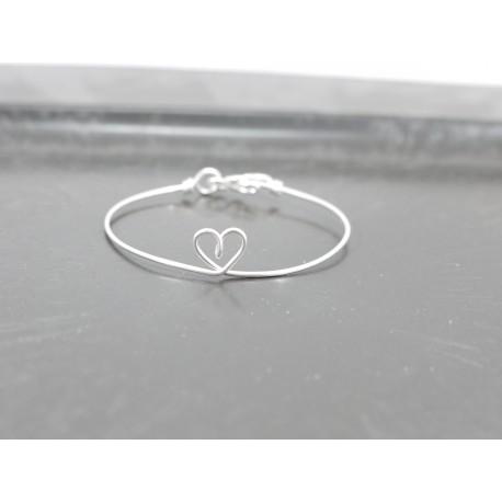 """Bracelet en fil d'argent 925 """"coeur"""""""